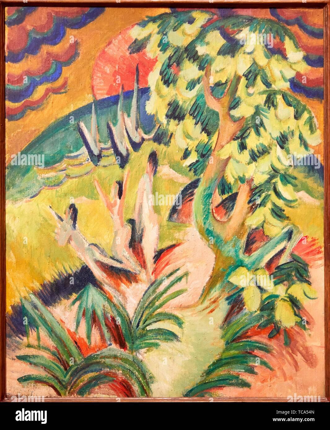 '''Curving Bay'', 1914, Ernst Ludwig Kirchner, Thyssen Bornemisza Museum, Madrid, Spain , Europe - Stock Image