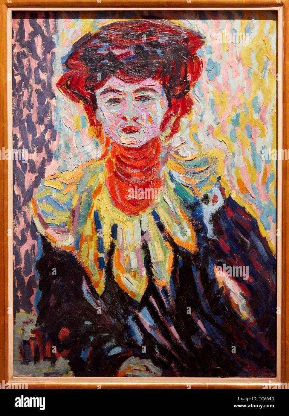 '''Doris with Ruff Collar'', 1906, Ernst Ludwig Kichner, Thyssen Bornemisza Museum, Madrid, Spain, Europe - Stock Image