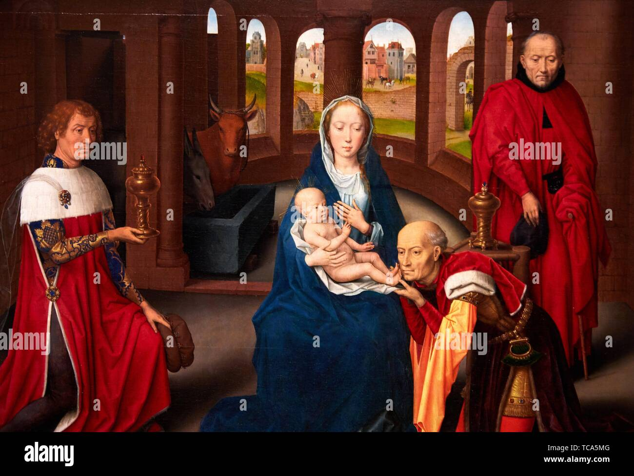 '''Triptych of the Adoration of the Magi'', 1470-1472, Hans Memling, Prado Museum, Madrid, Spain, Europe - Stock Image