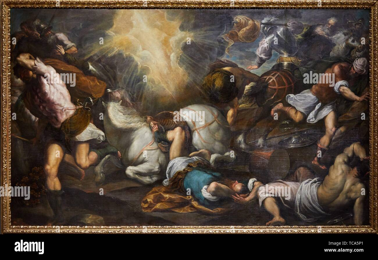 '''The Conversion of Saint Paul'', 1590-1595, Young Palma (Jacopo Negretti), Prado Museum, Madrid, Spain, Europe - Stock Image