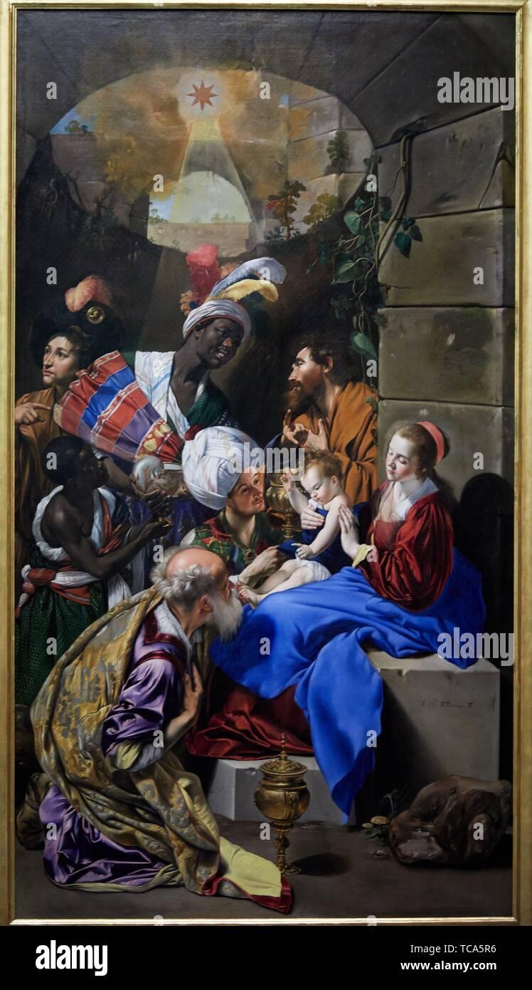 '''The Adoration of the Magi'', 1612-1614, Fray Juan Bautista Maíno, Prado Museum, Madrid, Spain, Europe - Stock Image