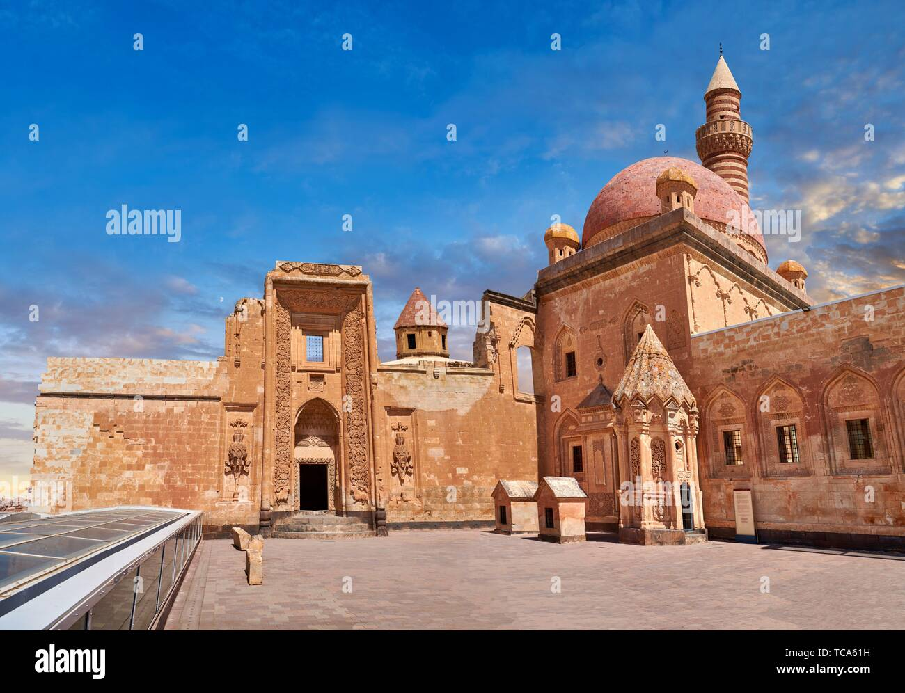Courtyard of the 18th Century Ottoman architecture of the Ishak Pasha Palace (Turkish: ?shak Pa?a Saray?) , A?r? province of eastern Turkey. Stock Photo