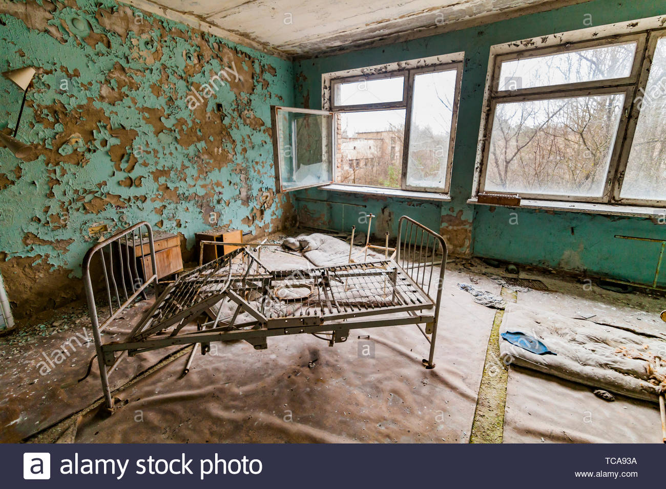 Pripyat, Chernobyl exclusion zone. The interior of the ward in a hospital in an abandoned city. - Stock Image
