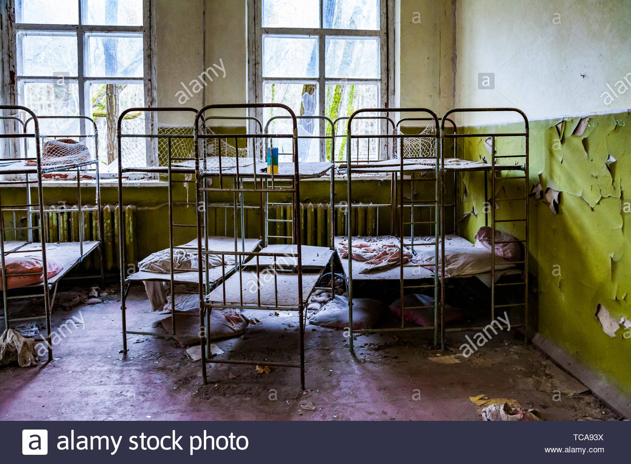 Pripyat, Chernobyl exclusion zone. The interior of a kindergarten in an abandoned city - Stock Image