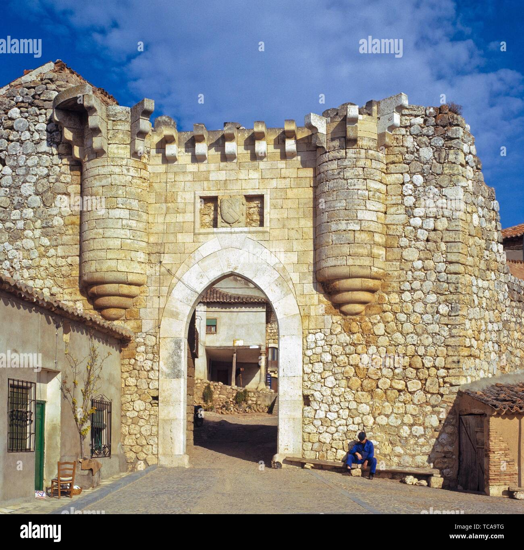 Old Castillian Town Gate. Hita (Guadalajara) Spain. Hita is a municipality in the comarca of La Alcarria, in the province of Guadalajara (province), Stock Photo