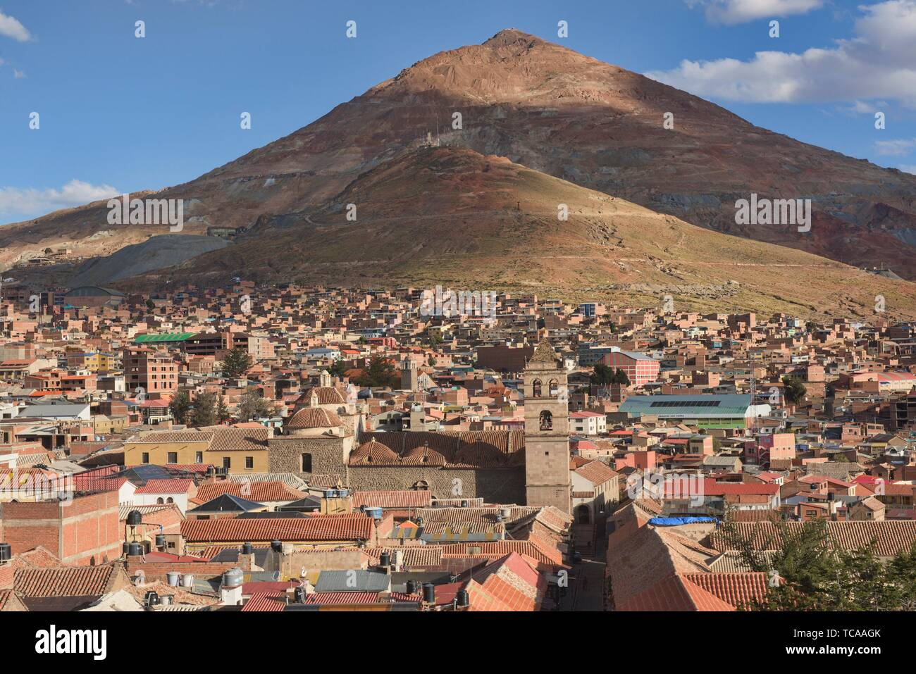 Rooftop view of Cerro Rico mine from the San Francisco Church and Convent, Potosí, Bolivia. - Stock Image