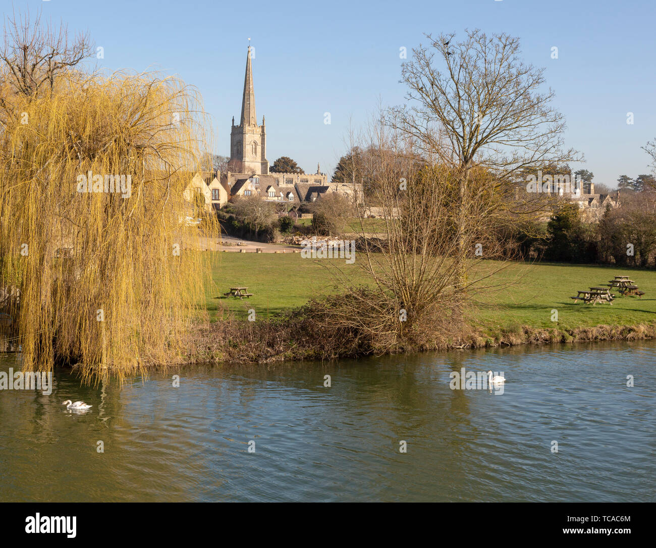 Church of Saint Lawrence, Lechlade, Gloucestershire, England, UK view from River Thames - Stock Image