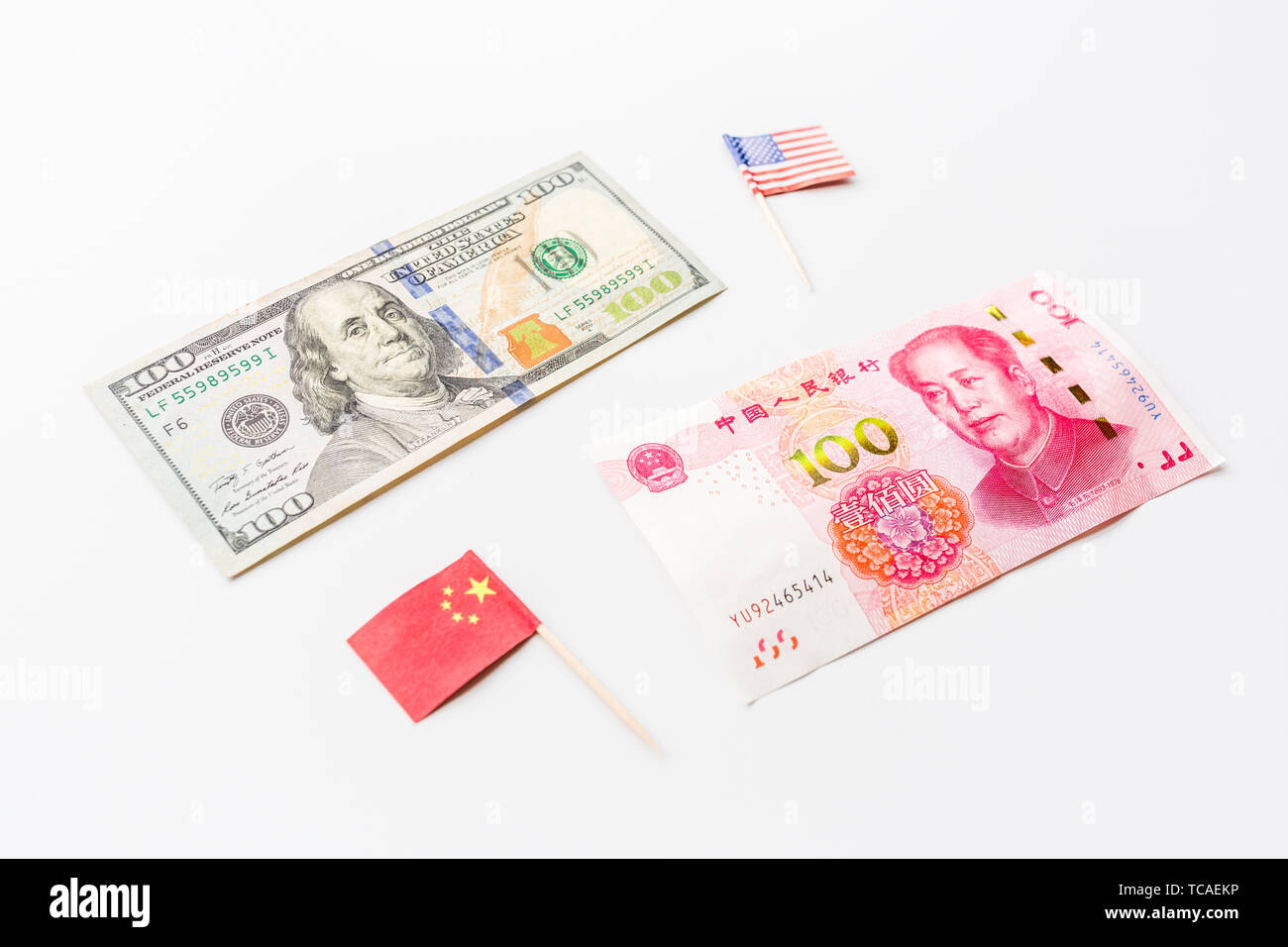 Creative top view flat lay of China and USA flag, mockup and copy space on white background in minimal style. Concept of trade war between USA and - Stock Image