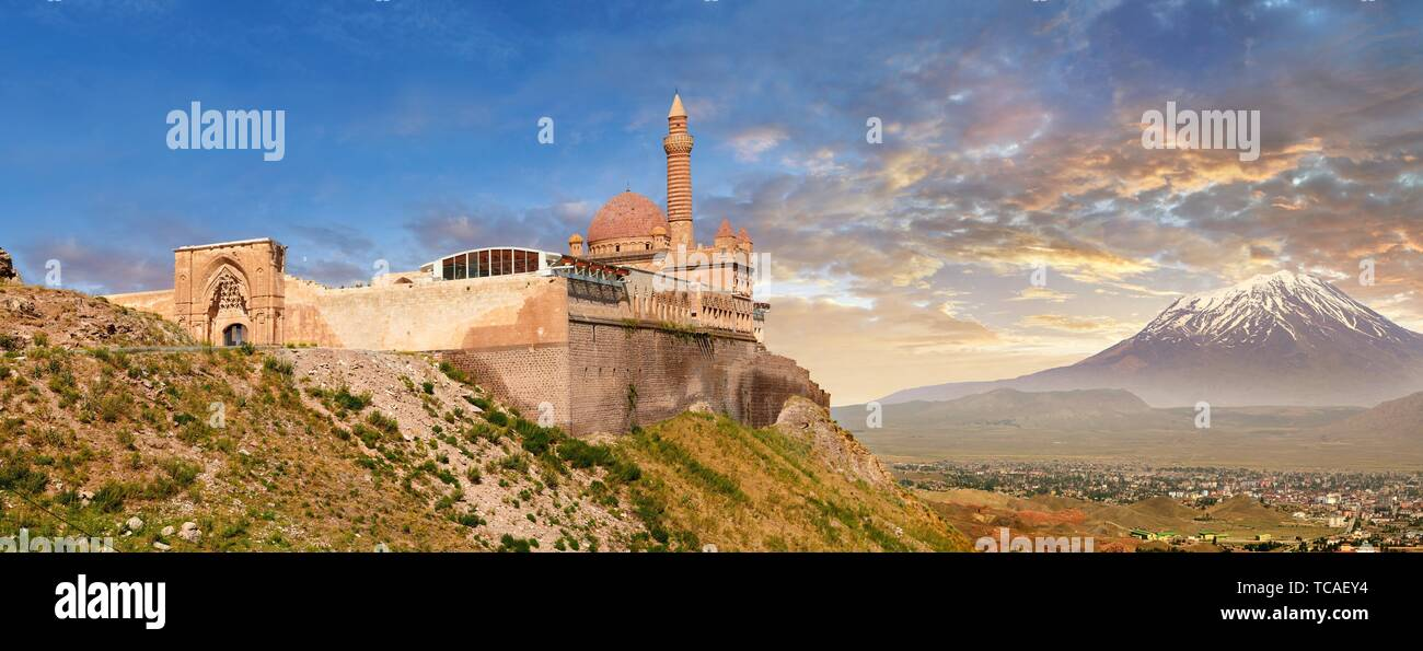 Exterior walls with Minarete of the Mosque of the 18th Century Ottoman architecture of the Ishak Pasha Palace (Turkish: ?shak Pa?a Saray?) , Agr? Stock Photo