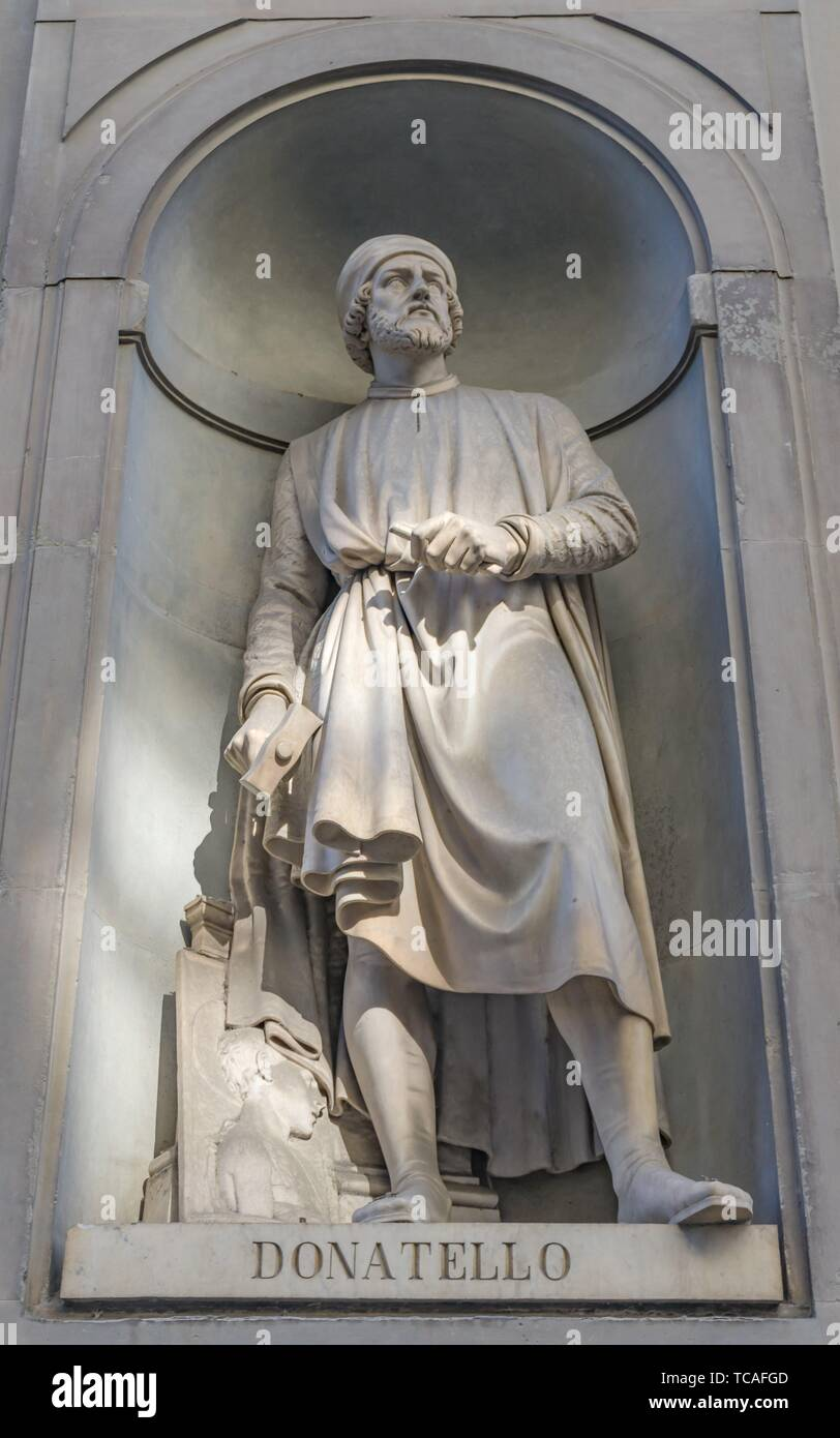 Donatello Statue Uffizi Gallery Florence Tuscany Italy. Statue by Girolamo Torrini in 1800s. 1400s Sculptor David. Stock Photo