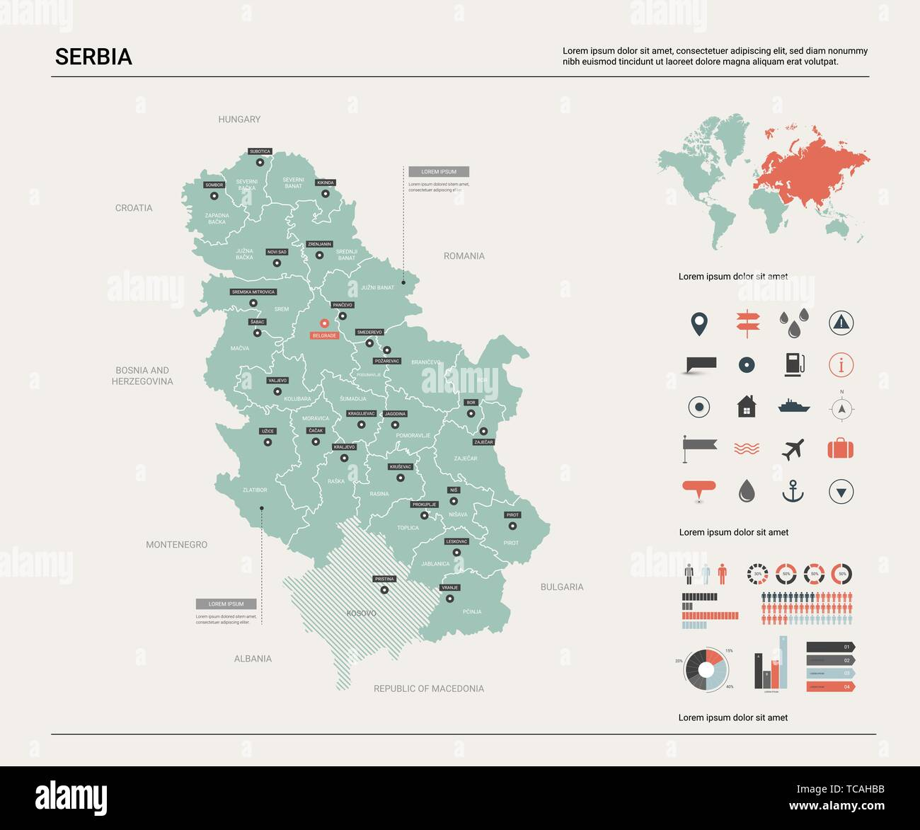Picture of: Vector Map Of Serbia Country Map With Division Cities And Capital Belgrade Political Map World Map Infographic Elements Stock Vector Image Art Alamy