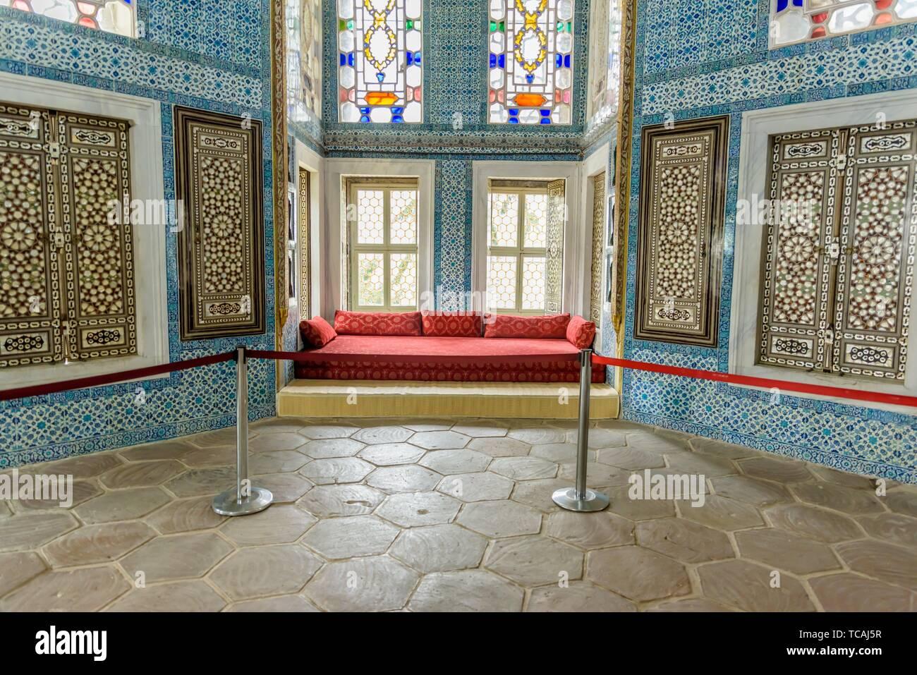 Revan kiosk locates at Topkapi Palace, a large museum destination,in Istanbul,Turkey. 11 April 2018. Stock Photo