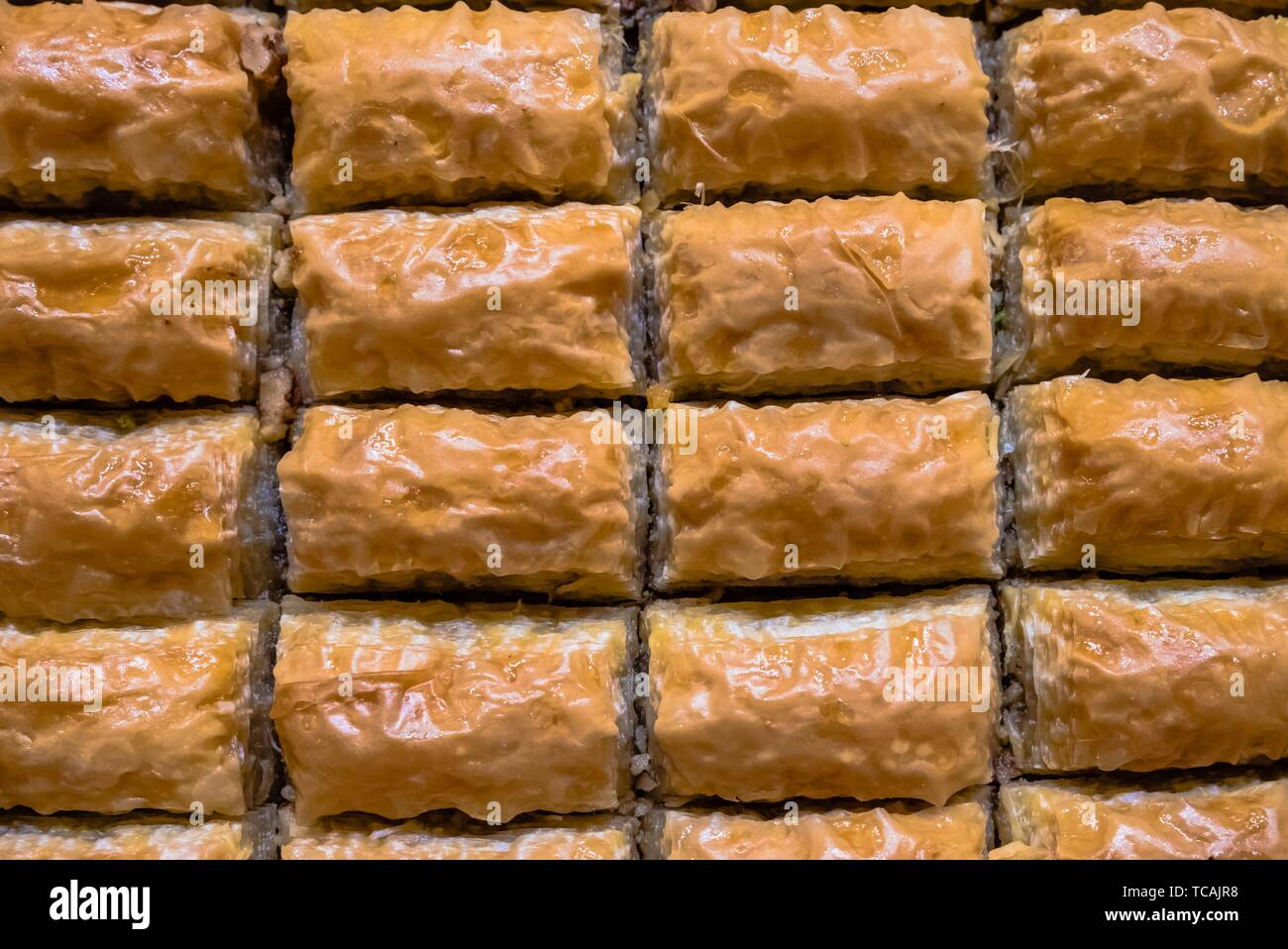 Top Close detailed view of traditional delicious Turkish dessert named baklava. - Stock Image