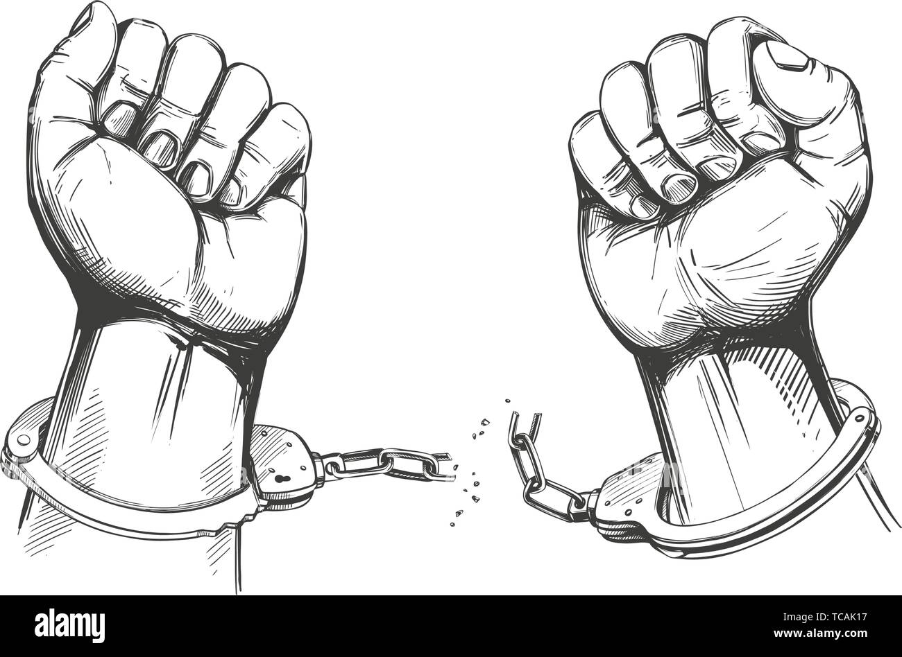 hands break the chain handcuffs, a symbol of freedom and forgiveness icon hand drawn vector illustration sketch - Stock Image