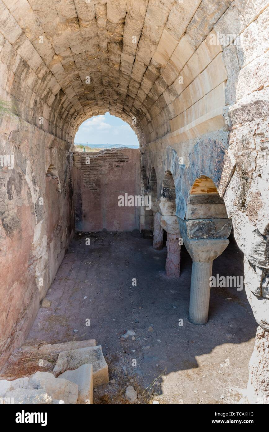Interior view of Cistern used for storing water at Aya Tekla underground cave Church also known as Saint Aya Thecla, Aya Thekla, located in - Stock Image