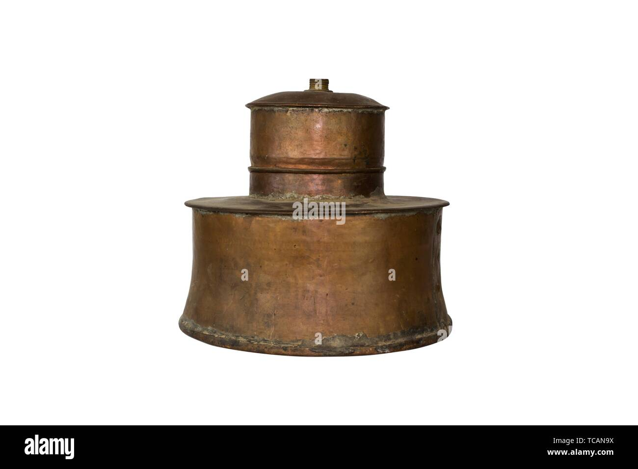 Alcohol Distillery For Making Schnapps, Whiskey, Brandy. Traditional Copper Set.. Stock Photo