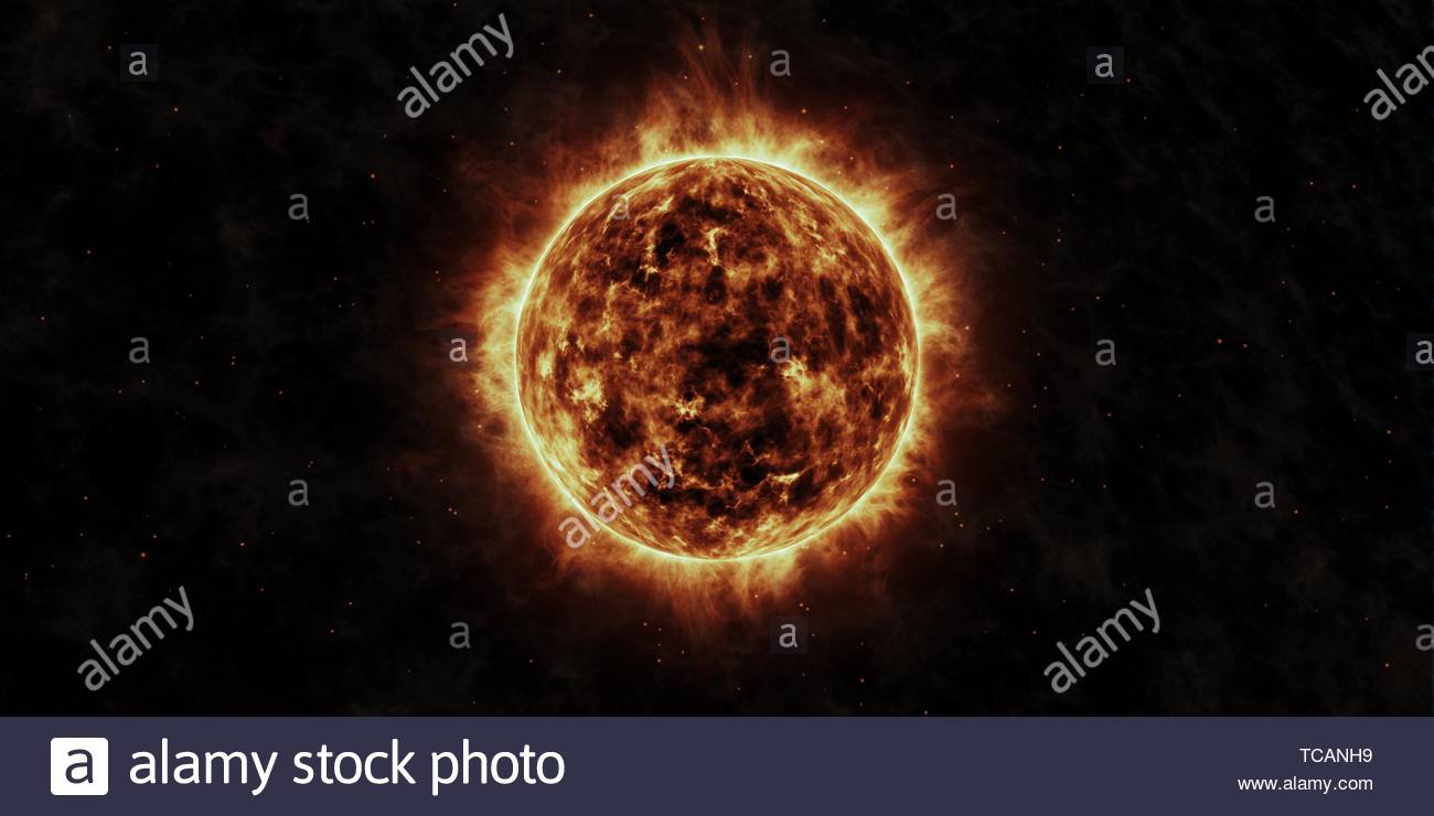 The Sun animation with star background. - Stock Image