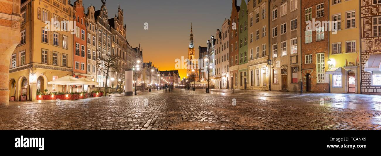 Long Market Panorama in Gdansk, Poland, evening view. Stock Photo
