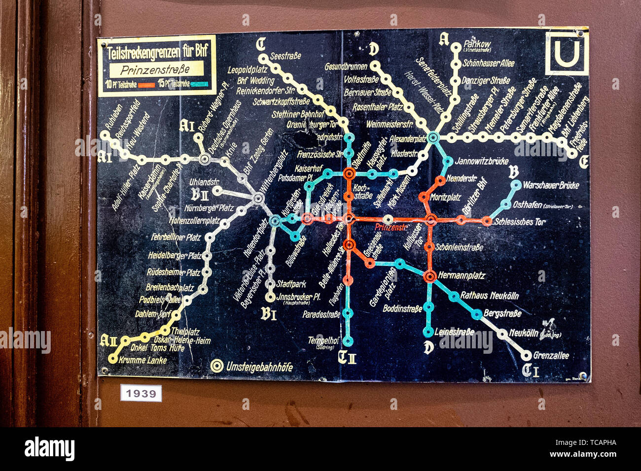 U-Bahn Museum Berlin. Transport museum in one of the former historic control rooms at the Olympia Stadium metro station. Old 1939 U-Bahn map Stock Photo