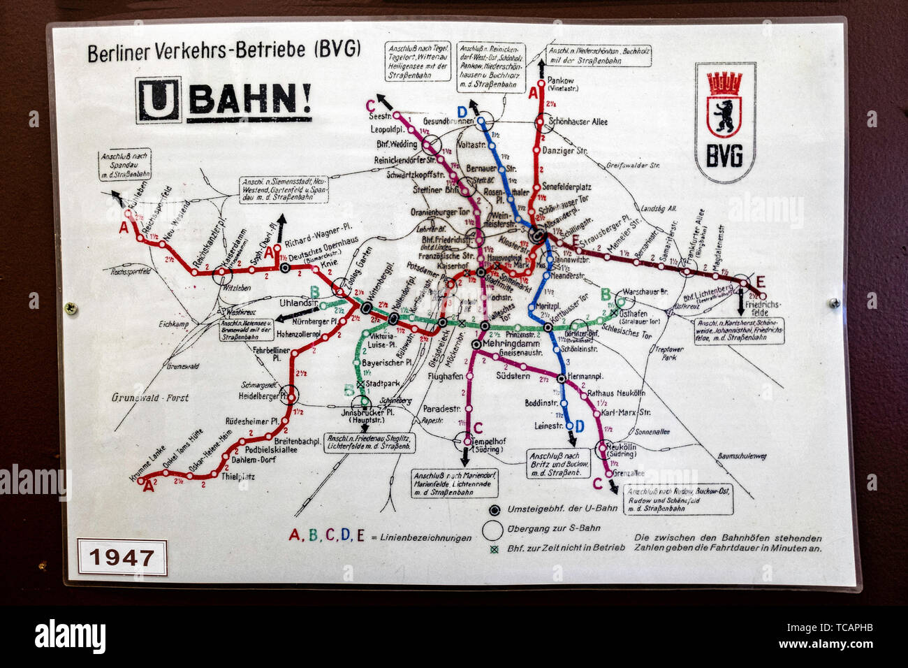 U-Bahn Museum Berlin. Transport museum in one of the former historic control rooms at the Olympia Stadium metro station. Old 1947 U-Bahn map The contr Stock Photo