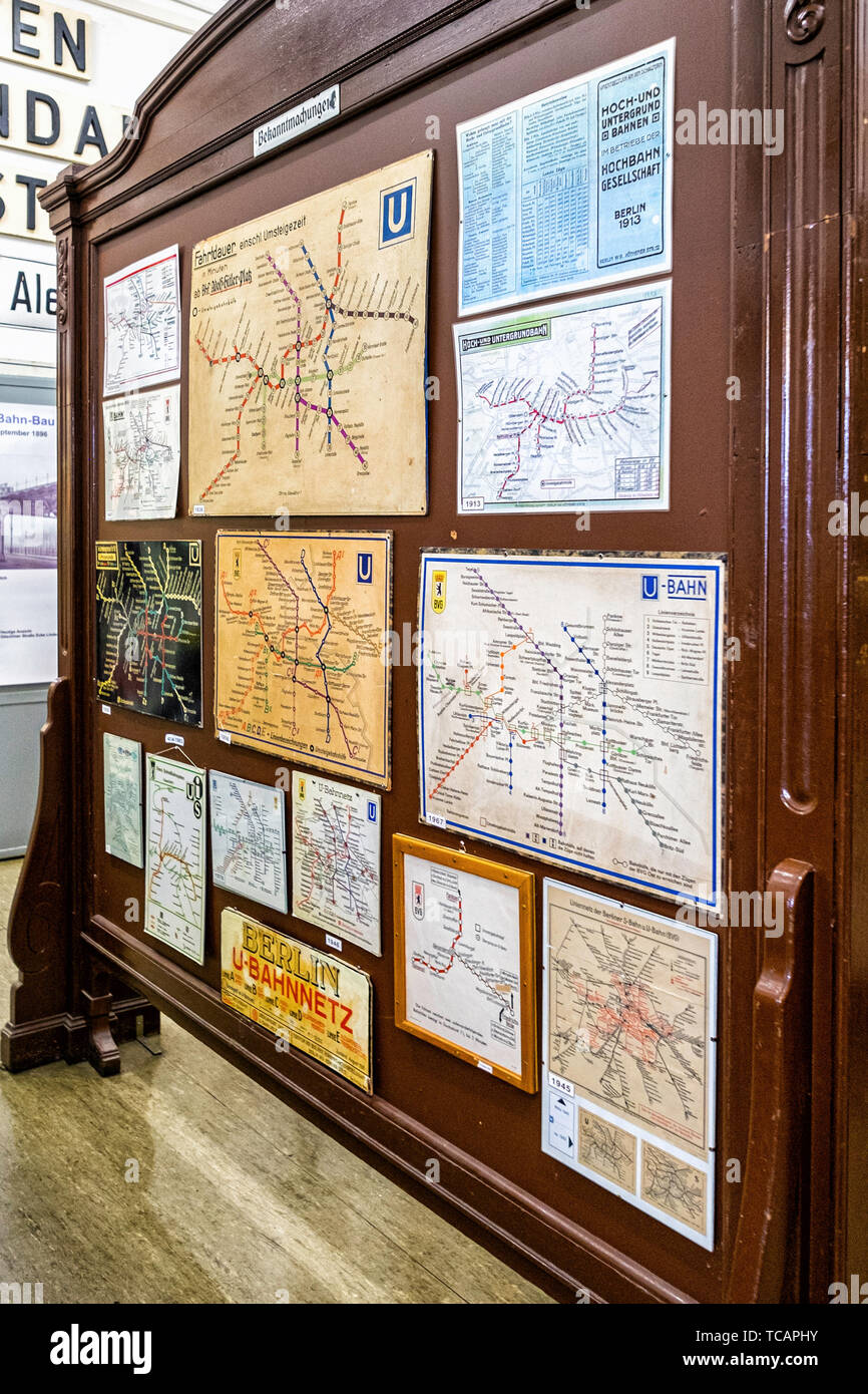 U-Bahn Museum Berlin. Transport museum in one of the former historic control rooms at the Olympia Stadium metro station. Collection of old U-bahn maps Stock Photo