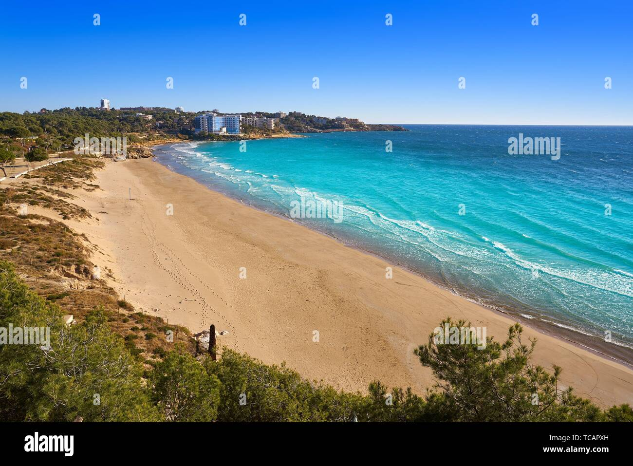 Platja Llarga Salou beach in Tarragona of Catalonia. Stock Photo