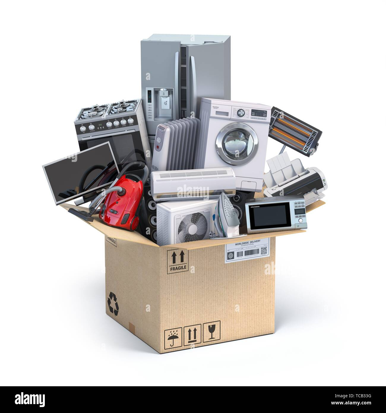 Home kitchen appliances in open cardboard box. Delivery ...