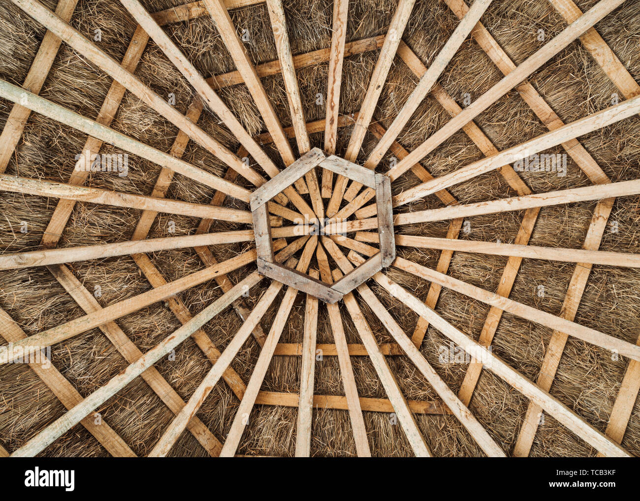 Hexagonal wood frame and thatched roof - Stock Image