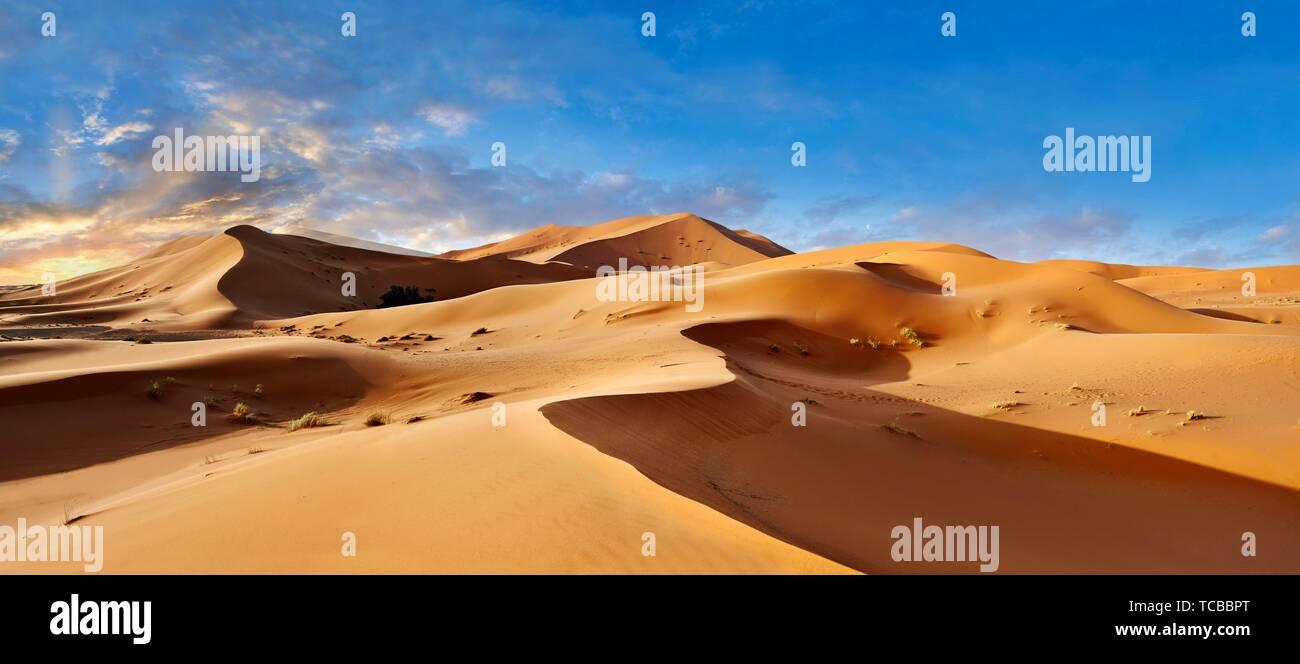 Sahara sand dunes of erg Chebbi, Morocco, Africa. Stock Photo