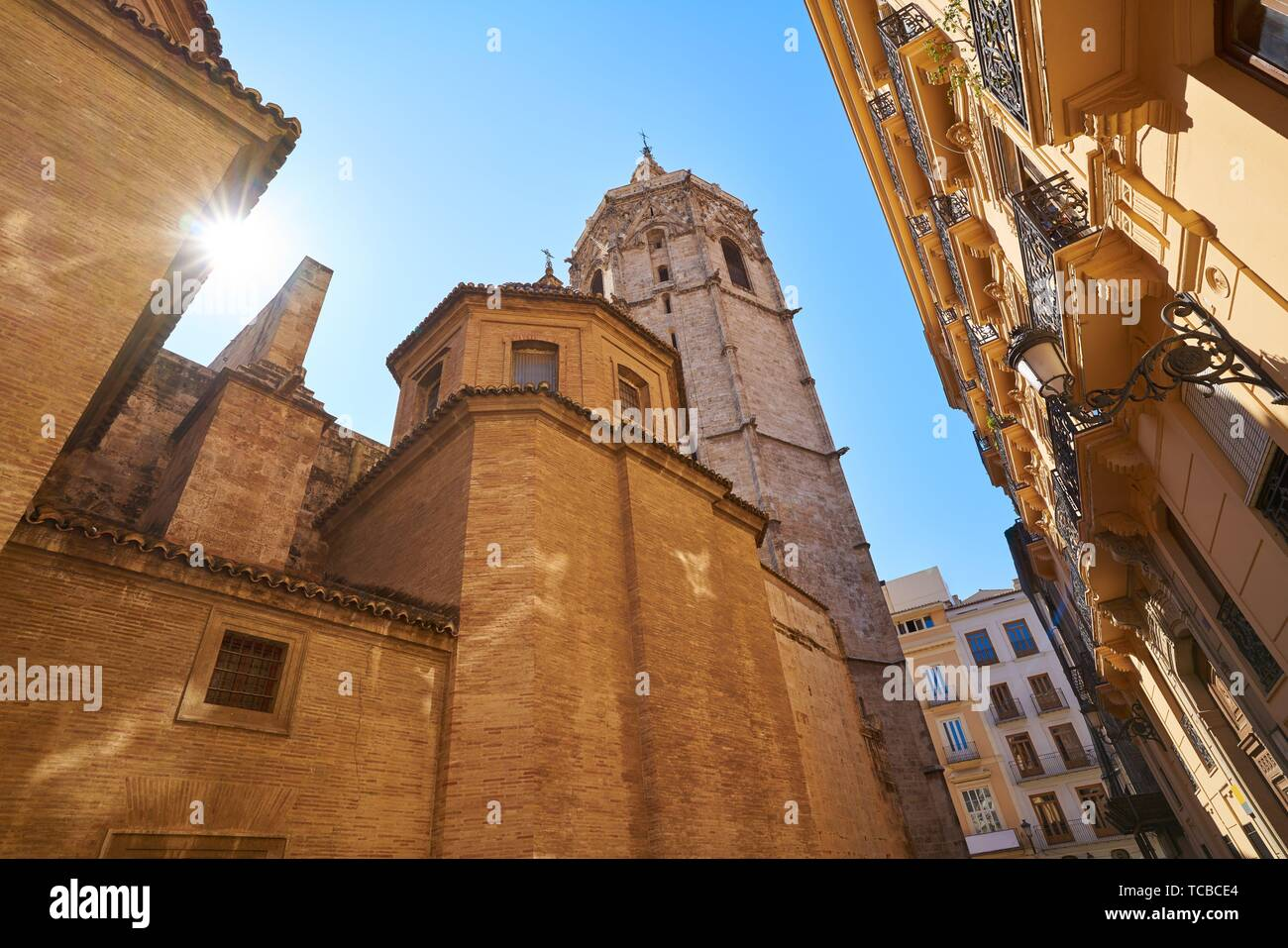 Valencia Plaza de la Virgen square and Miguelete tower and Cathedral at Spain. Stock Photo