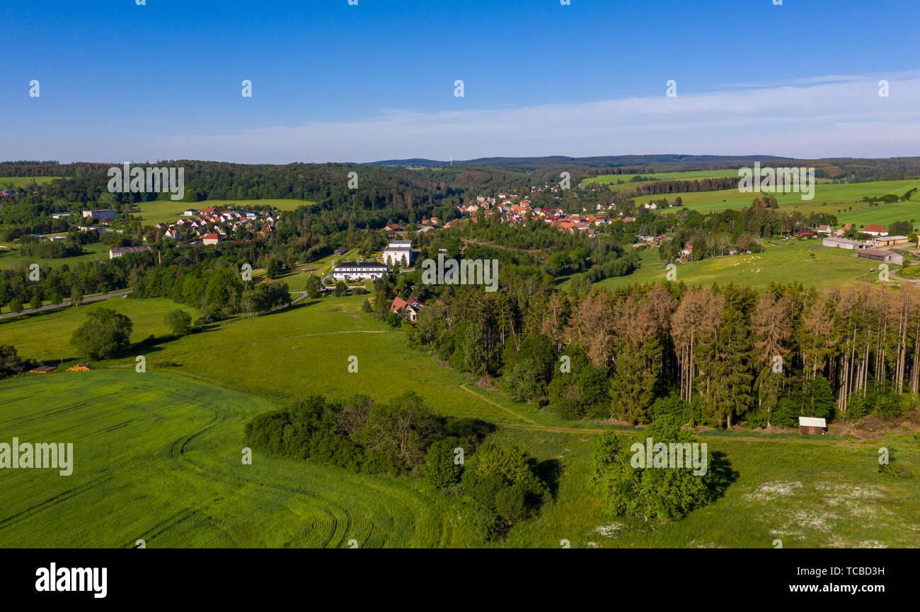 Luftbildaufnahmen aus dem Harz Ortschaft Güntersberge - Stock Image