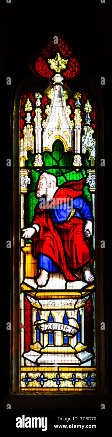 Stained glass window in church of Saint Margaret of Antioch, Leigh Delamere, Wiltshire, England, UK by Wilmshurst 1846 Ezekiel - Stock Image