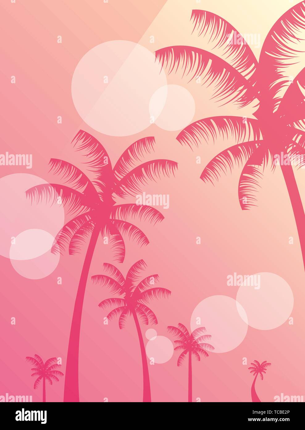summer time banner foliage palm trees blurred background vector illustration cinco de mayo celebration with skull decorative vector illustration design - Stock Vector
