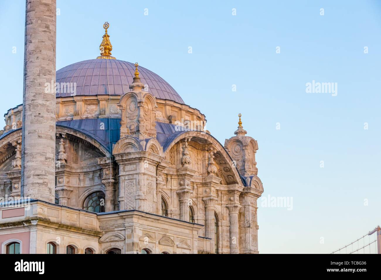 Close detailed view of Ortakoy Mosque near bosphorus in Istanbul,Turkey. - Stock Image