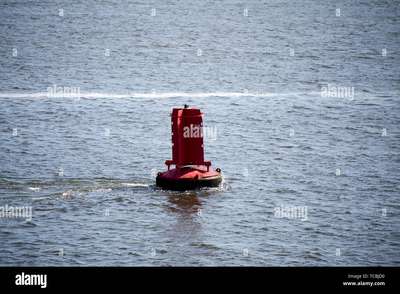 red port channel marker c18 liverpool bay uk - Stock Image