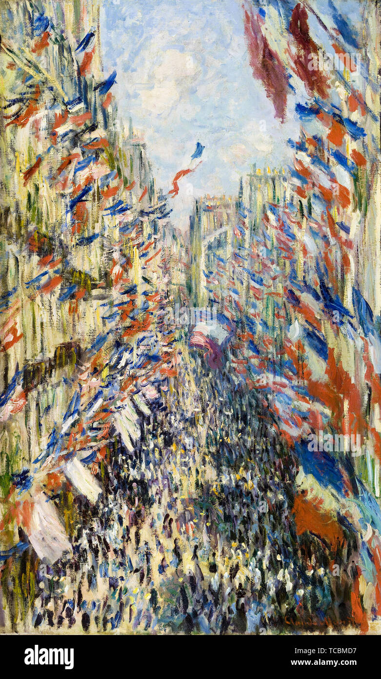 Claude Monet, The Rue Montorgueil in Paris, Celebration of June 30, 1878, painting, 1878 - Stock Image