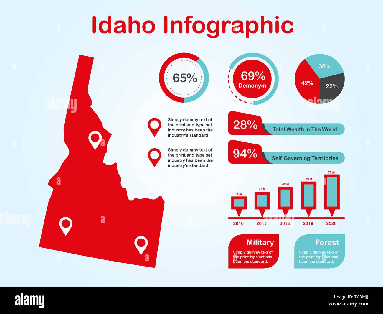 Idaho State (USA) Map with Set of Infographic Elements in Red Color in Light Background. Modern Information Graphics Element for your design. - Stock Vector