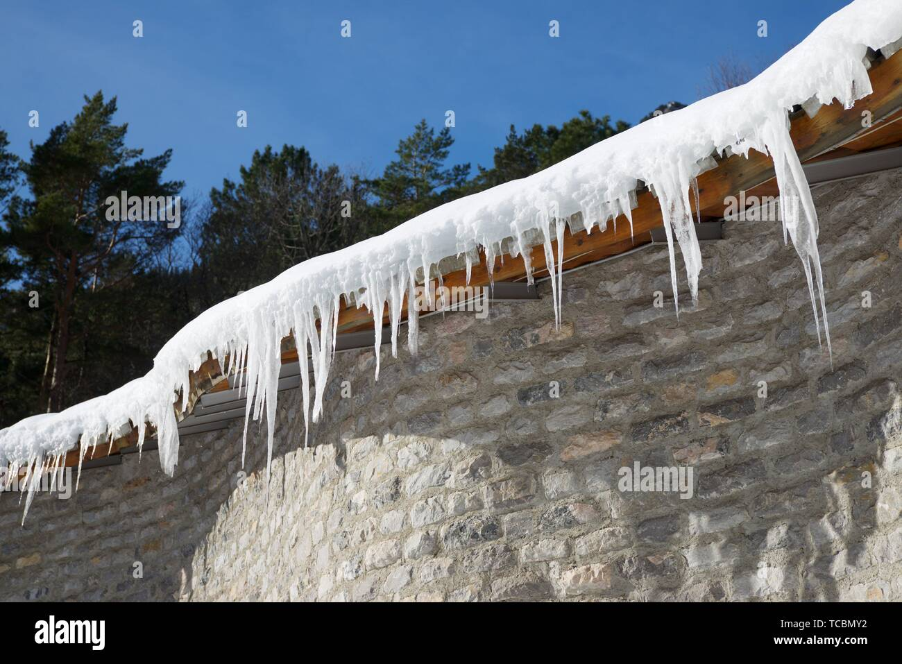 Icicles Canfranc Valley, Pyrenees, Huesca Province, Aragon, Spain. - Stock Image