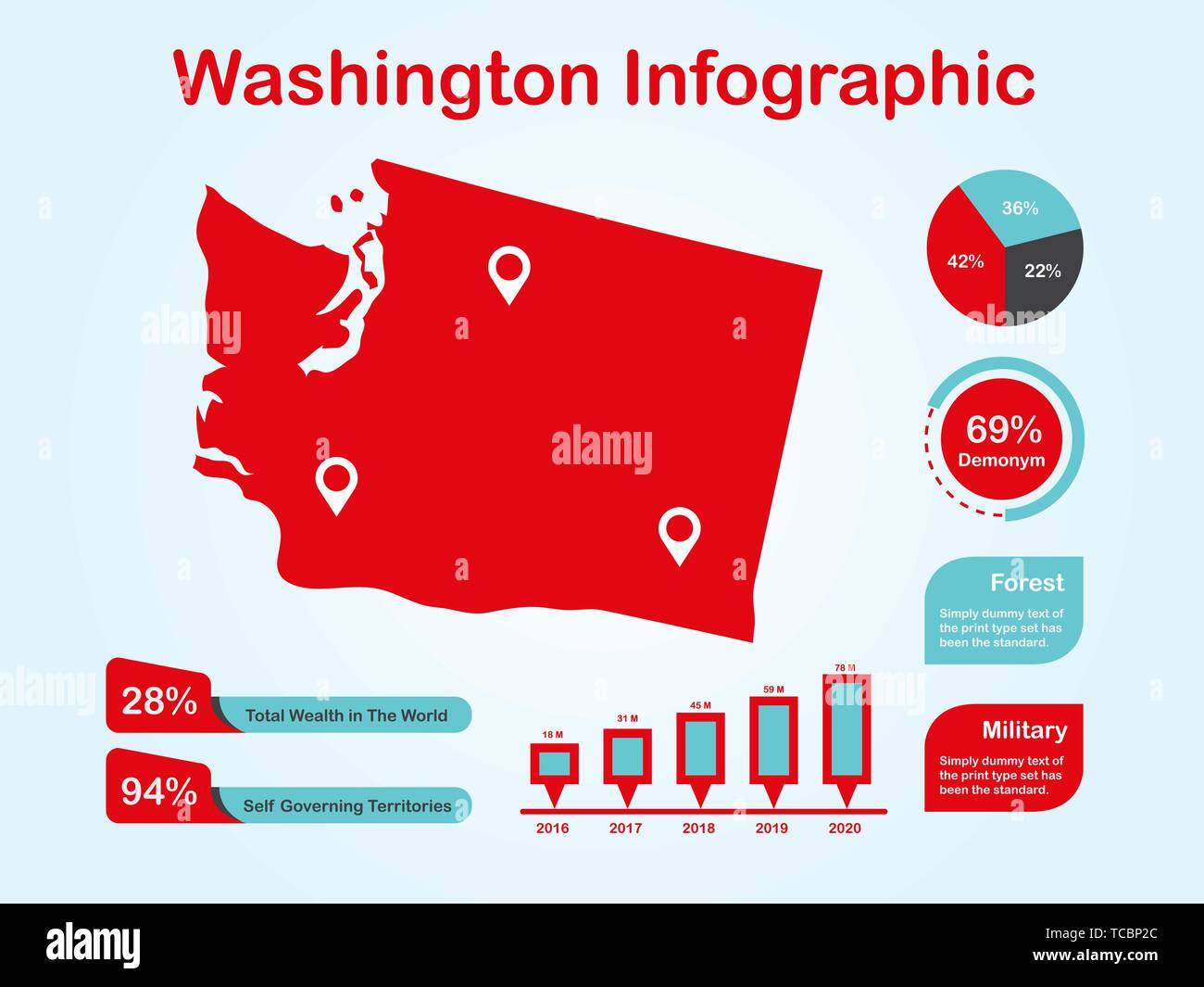Washington State (USA) Map with Set of Infographic Elements in Red Color in Light Background. Modern Information Graphics Element for your design. - Stock Vector