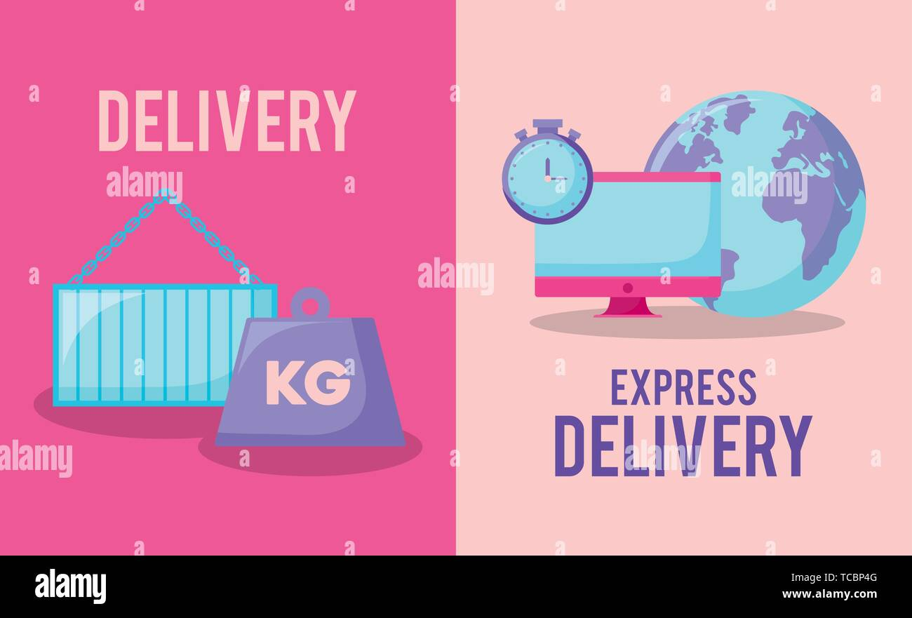delivery service with kilogram and set icons vector illustration design - Stock Image