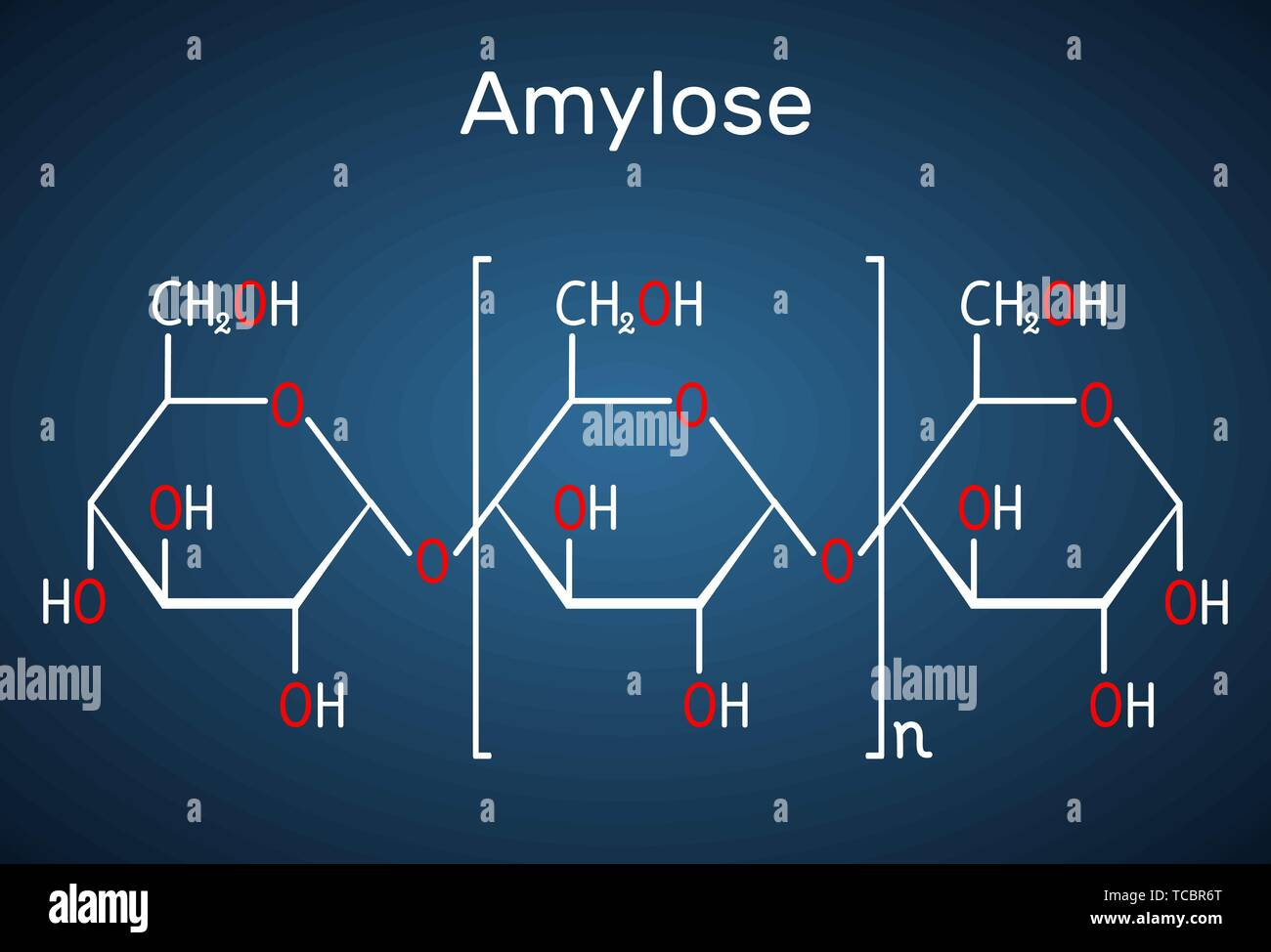 Amylose molecule. It is a polysaccharide and one of the two components of starch. Structural chemical formula on the dark blue background. Vector illu Stock Vector