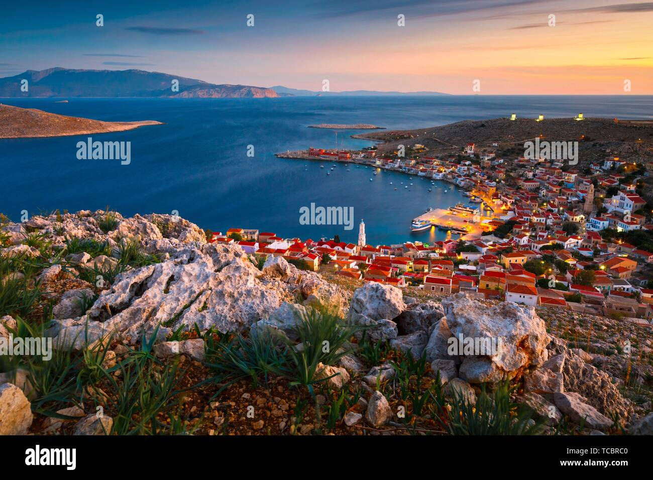 Village on Halki island in Dodecanese archipelago, Greece.. - Stock Image