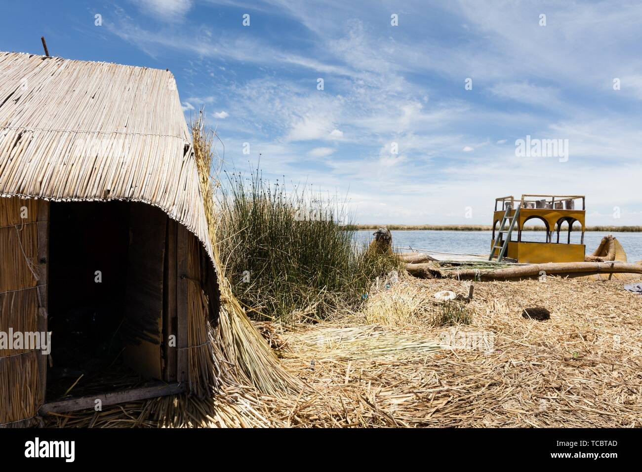 traditional tent on the Titicaca lake near Puno, Peru. - Stock Image