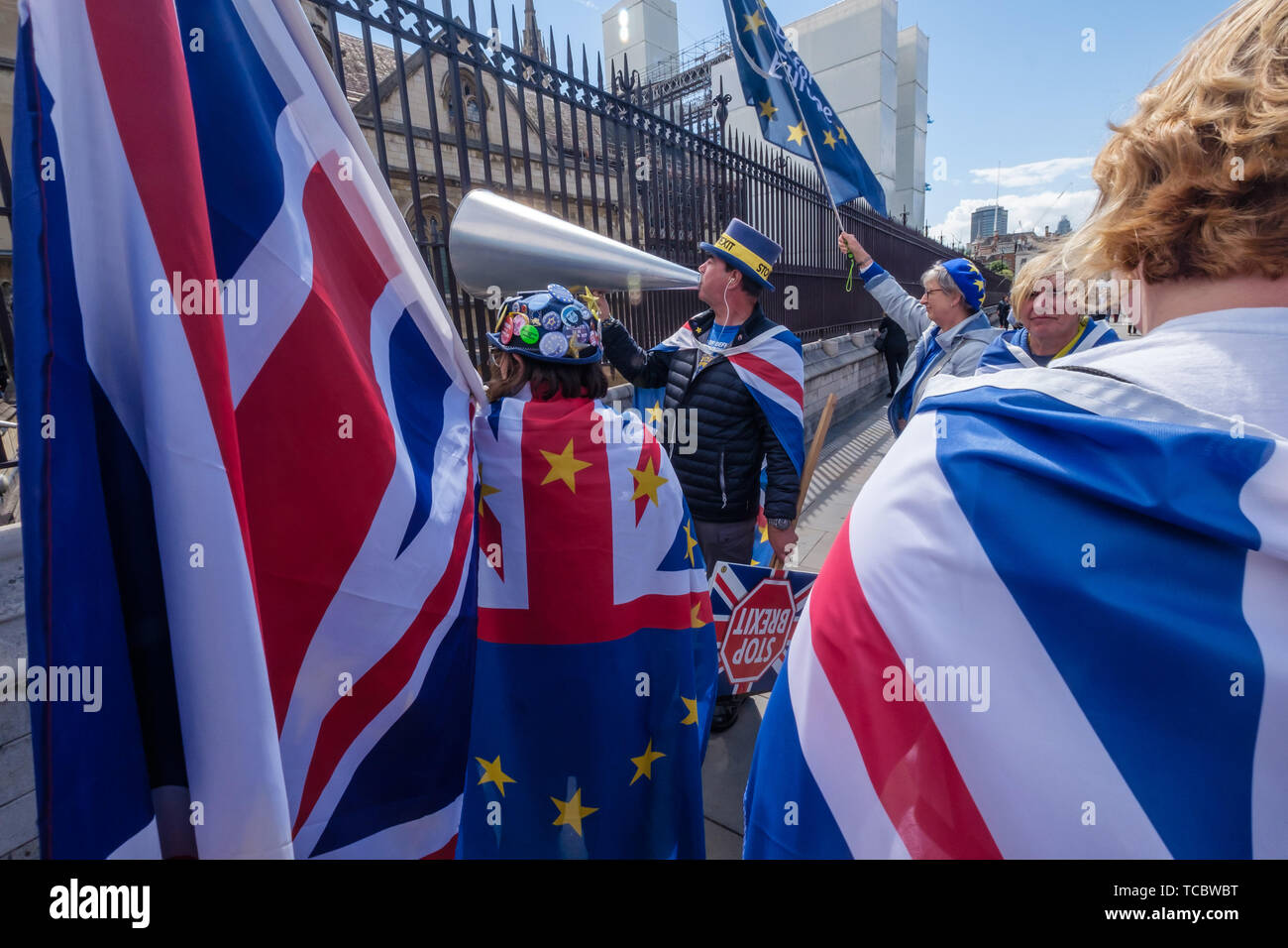 London, UK  6th June 2019  Steve Bray and others from SODEM