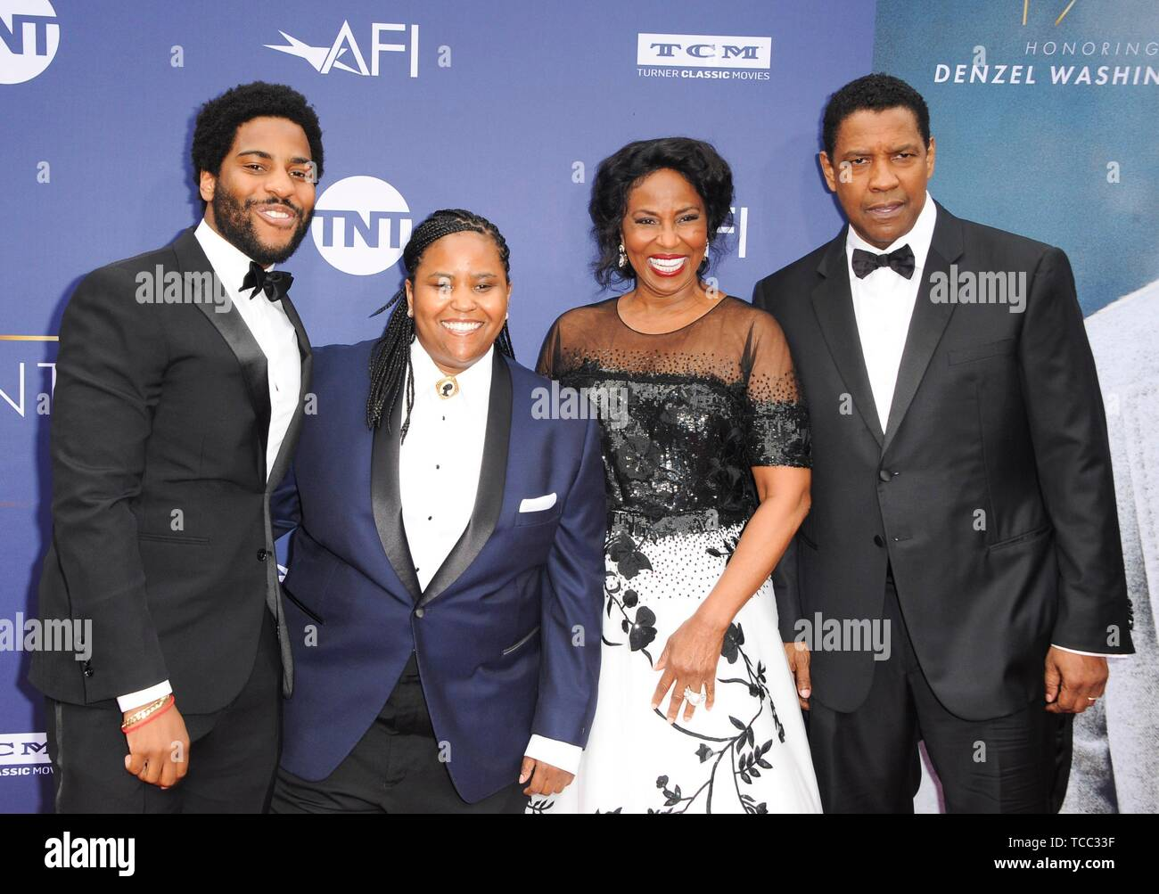 Los Angeles, CA, USA. 6th June, 2019. Denzel Washington, Pauletta Washington, Katia Washington, Malcolm Washington at arrivals for AFI Life Achievement Award Tribute to Denzel Washington, The Dolby Theatre at Hollywood and Highland Center, Los Angeles, CA June 6, 2019. Credit: Elizabeth Goodenough/Everett Collection/Alamy Live News Stock Photo