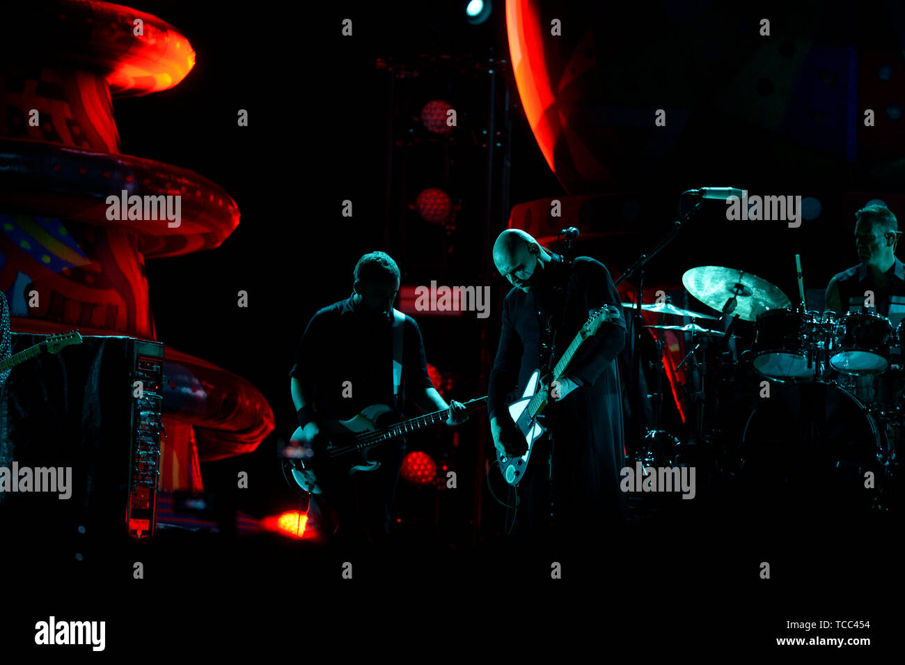 Prague, Czech Republic. 06th June, 2019. American band The Smashing Pumpkins performs in Prague, Czech Republic, on June 6, 2019. On the center of the photo is seen guitarist and singer of the band Billy Corgan. Credit: Katerina Sulova/CTK Photo/Alamy Live News - Stock Image