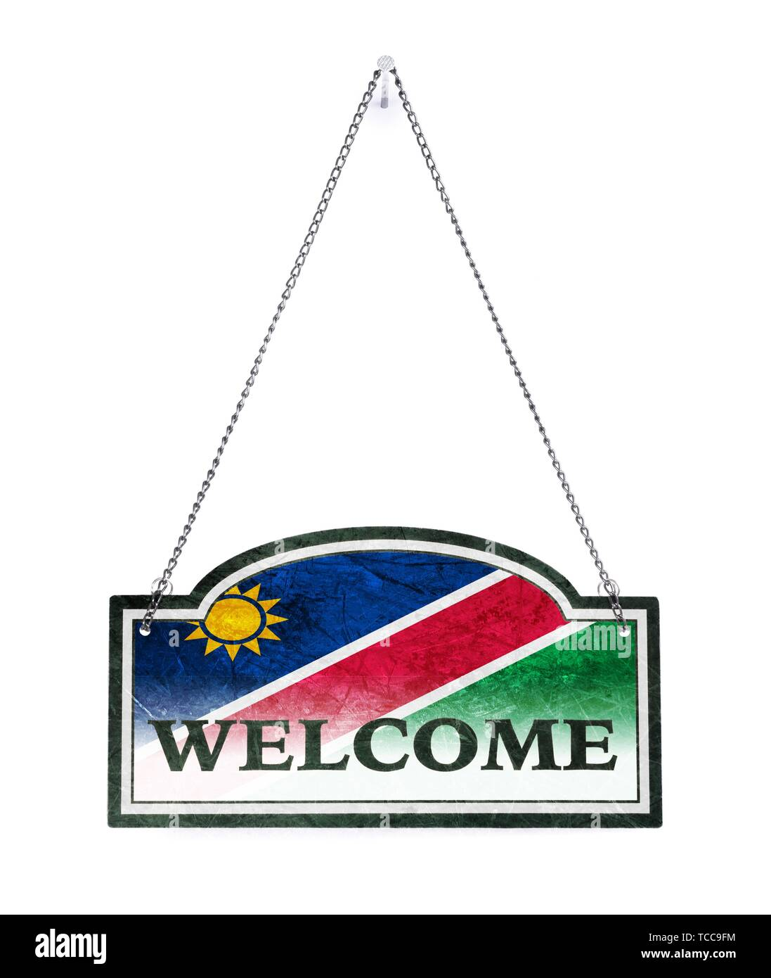 Namibia welcomes you! Old metal sign isolated on white. - Stock Image