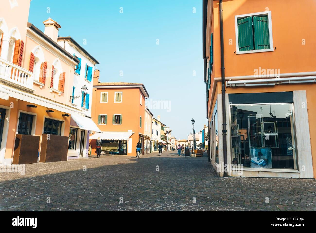 Tourist district of the old provincial town of Caorle in Italy on the Adriatic coast. - Stock Image