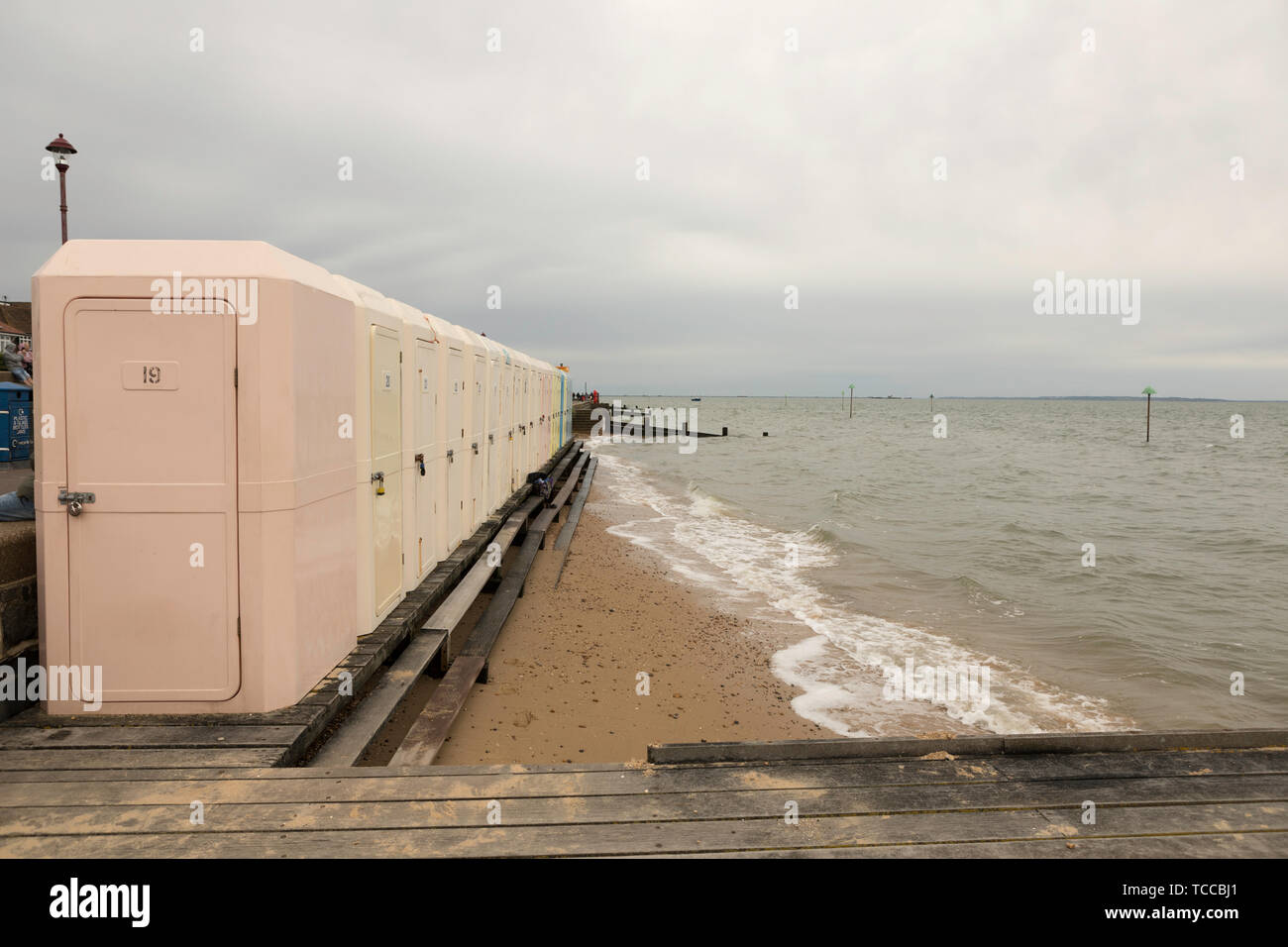 Southend on Sea, UK. 5th June, 2019. Beach changing cubicles giving swimmers and beach users the chance to get changed at the beach in privacy. - Stock Image