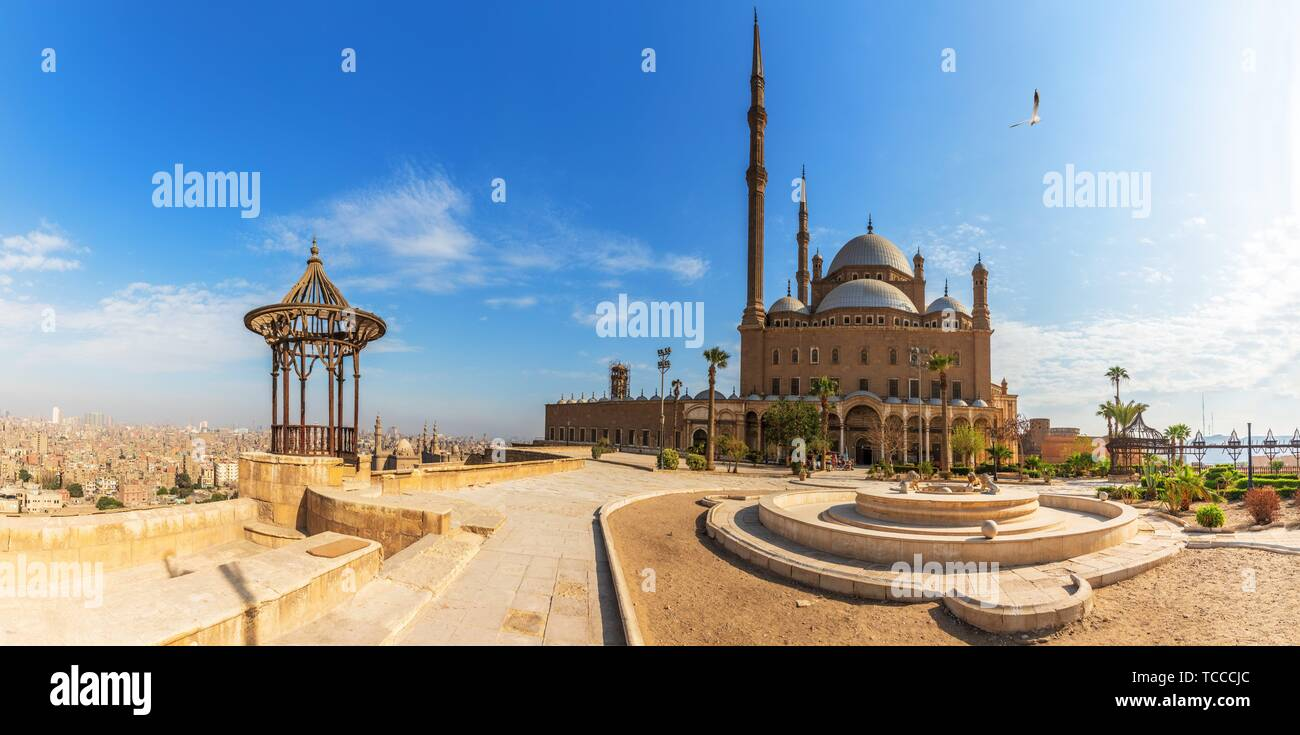 Mosque of Muhammad Ali in the Citadel of Cairo, Egypt, panoramic view. Stock Photo
